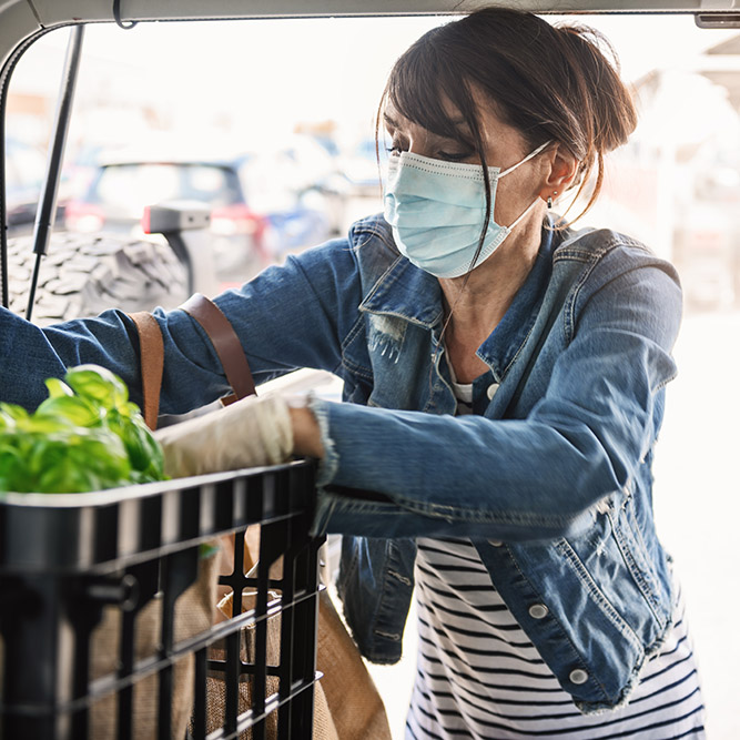Woman With Masking Loading Groceries